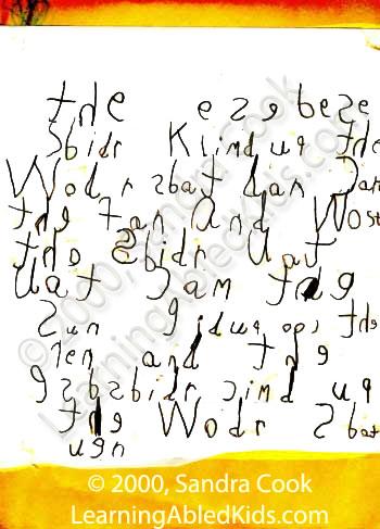 Copyright 2000, Sandra Cook dyslexia writing sample
